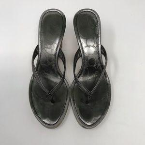 Coach Sandals Silver Lannie Wedges Size 7.5